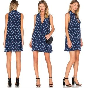 Equipment Femme Silk Designer Navy Heart Dress L